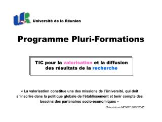 Programme Pluri-Formations