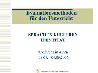 Evaluationsmethoden  f r den Unterricht