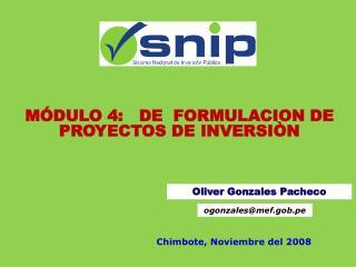 M DULO 4:   DE  FORMULACION DE PROYECTOS DE INVERSI N