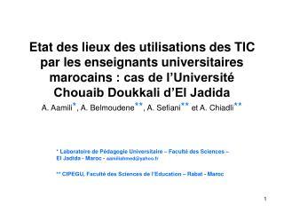 Etat des lieux des utilisations des TIC par les enseignants universitaires marocains : cas de l Universit  Chouaib Doukk