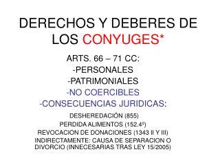 DERECHOS Y DEBERES DE LOS CONYUGES