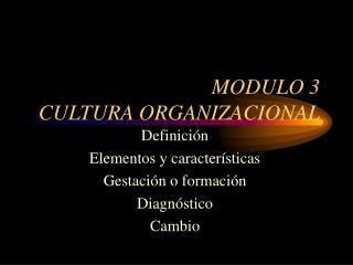 MODULO 3 CULTURA ORGANIZACIONAL