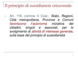 Il principio di sussidiariet  orizzontale