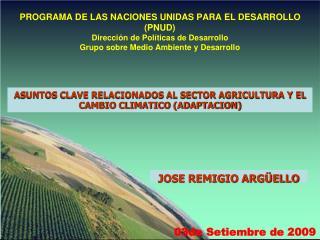PROGRAMA DE LAS NACIONES UNIDAS PARA EL DESARROLLO PNUD Direcci n de Pol ticas de Desarrollo Grupo sobre Medio Ambiente