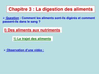 Chapitre 3 : La digestion des aliments