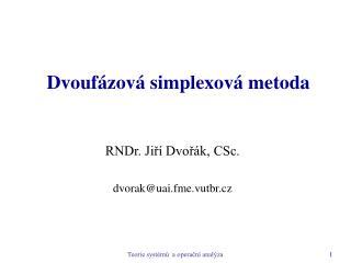 Dvouf zov  simplexov  metoda