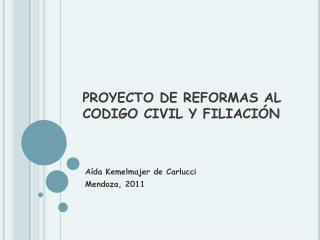 PROYECTO DE REFORMAS AL CODIGO CIVIL Y FILIACI N