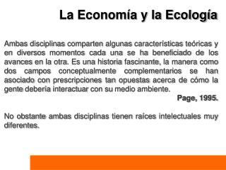La Econom a y la Ecolog a