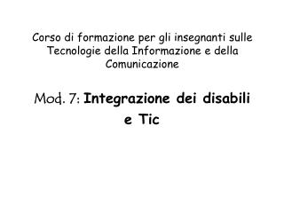 Corso di formazione per gli insegnanti sulle Tecnologie della Informazione e della Comunicazione