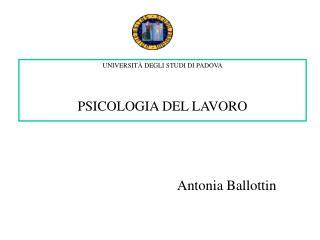 UNIVERSIT  DEGLI STUDI DI PADOVA   PSICOLOGIA DEL LAVORO