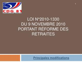 Loi N 2010-1330  du 9 novembre 2010  Portant r forme des retraites