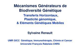 M canismes G n rateurs de Biodiversit  G n tique  Transferts Horizontaux, Plasticit  g nomique,  El ments G n tiques Mob