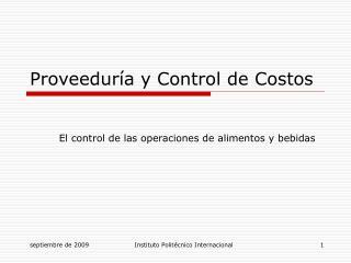 Proveedur a y Control de Costos