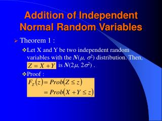 Addition of Independent Normal Random Variables