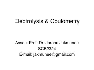 Electrolysis  Coulometry