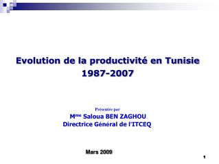 Evolution de la productivit  en Tunisie  1987-2007