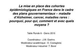 La mise en place des cohortes  pid miologiques en France dans le cadre des plans gouvernementaux   maladie d Alzheimer,