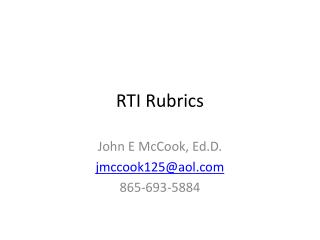 RTI Rubrics