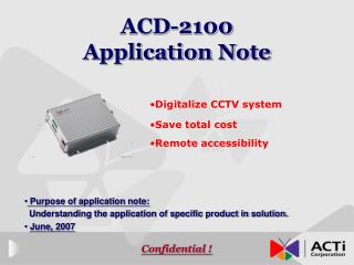 ACD-2100  Application Note