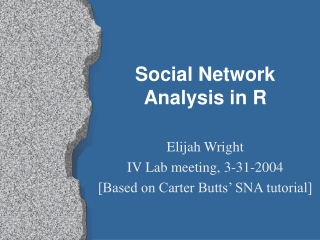 Overview Analysis of Social Networks