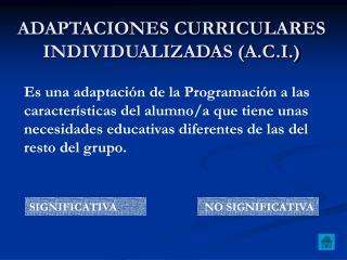 ADAPTACIONES CURRICULARES INDIVIDUALIZADAS A.C.I.