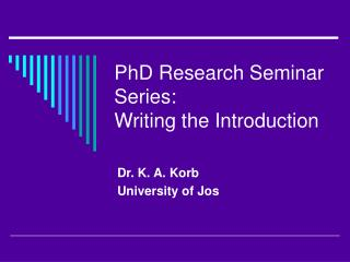PhD Research Seminar Series: Writing the Introduction