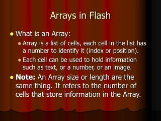 Arrays in Flash