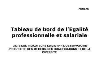 Tableau de bord de l Egalit  professionnelle et salariale   LISTE DES INDICATEURS SUIVIS PAR L OBSERVATOIRE PROSPECTIF D