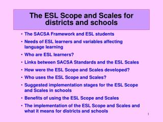 The ESL Scope and Scales for districts and schools