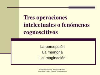 Tres operaciones intelectuales o fen menos cognoscitivos