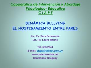 Cooperativa de Intervenci n y Abordaje Psicol gico- Educativo C I A P E