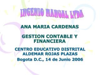 ANA MARIA CARDENAS  GESTION CONTABLE Y FINANCIERA