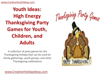 Youth Ideas: High Energy Thanksgiving Party Games for Youth