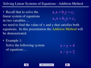 Solving Linear Systems of Equations - Addition Method