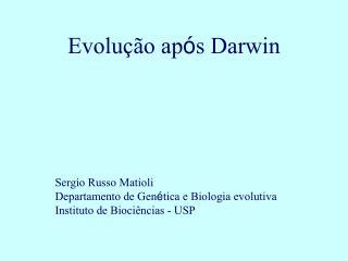 Evolu  o ap s Darwin