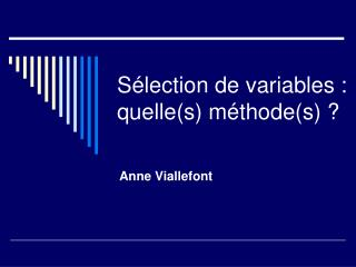 S lection de variables : quelles m thodes