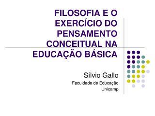 FILOSOFIA E O EXERC CIO DO PENSAMENTO CONCEITUAL NA EDUCA  O B SICA