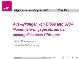 Auswirkungen von DRGs und GKV-Modernisierungsgesetz auf den niedergelassenen Chirugen