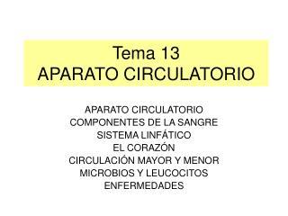 Tema 13 APARATO CIRCULATORIO