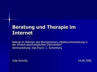 Beratung und Therapie im Internet