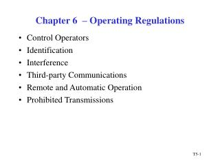 Chapter 6    Operating Regulations