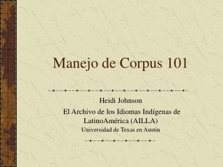 Manejo de Corpus 101