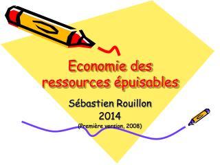 Economie des ressources  puisables