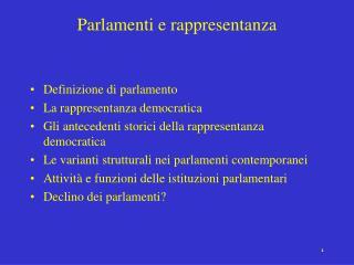 Parlamenti e rappresentanza