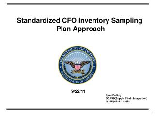 Standardized CFO Inventory Sampling  Plan Approach