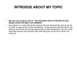 INTRODUE ABOUT MY TOPIC