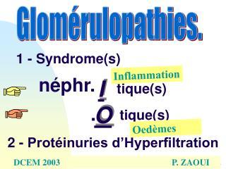 1 - Syndromes    n phr.