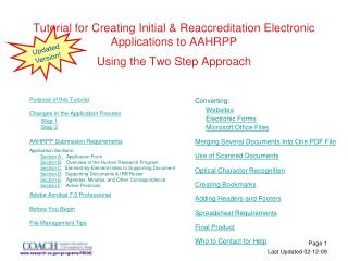 Tutorial for Creating Initial  Reaccreditation Electronic Applications to AAHRPP