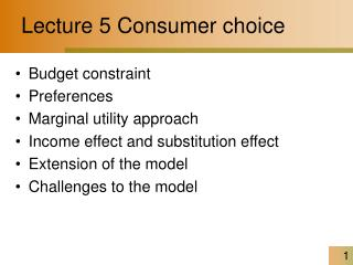 Lecture 5 Consumer choice