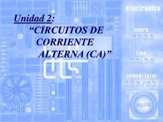 Unidad 2:        CIRCUITOS DE           CORRIENTE            ALTERNA CA